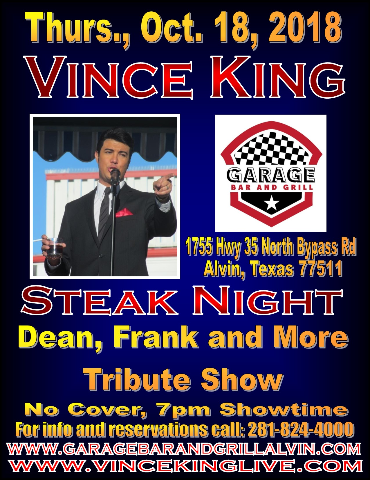 The Garage Bar Grill Dean Frank More Vince King Live